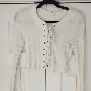 *LF* Cotton Candy LA white sweater crop top tie up